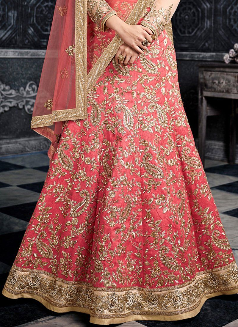 Light Pink And Cream Heavy Embroidered Lehenga Features An Art Silk