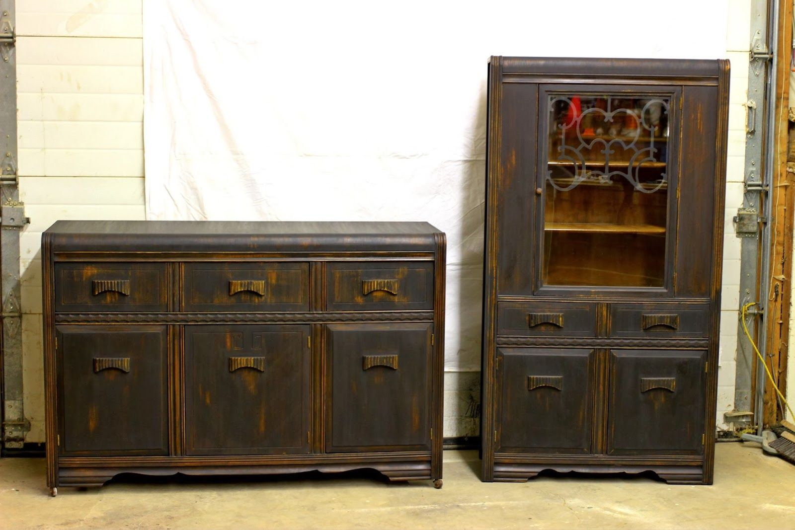 Laurelu0027s Attic : Black Vintage Buffet And China Cabinet   SOLD