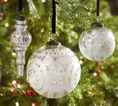 "Pottery Barn Oversized Silver Mercury Glass 6/"" Sphere Christmas Ornament"
