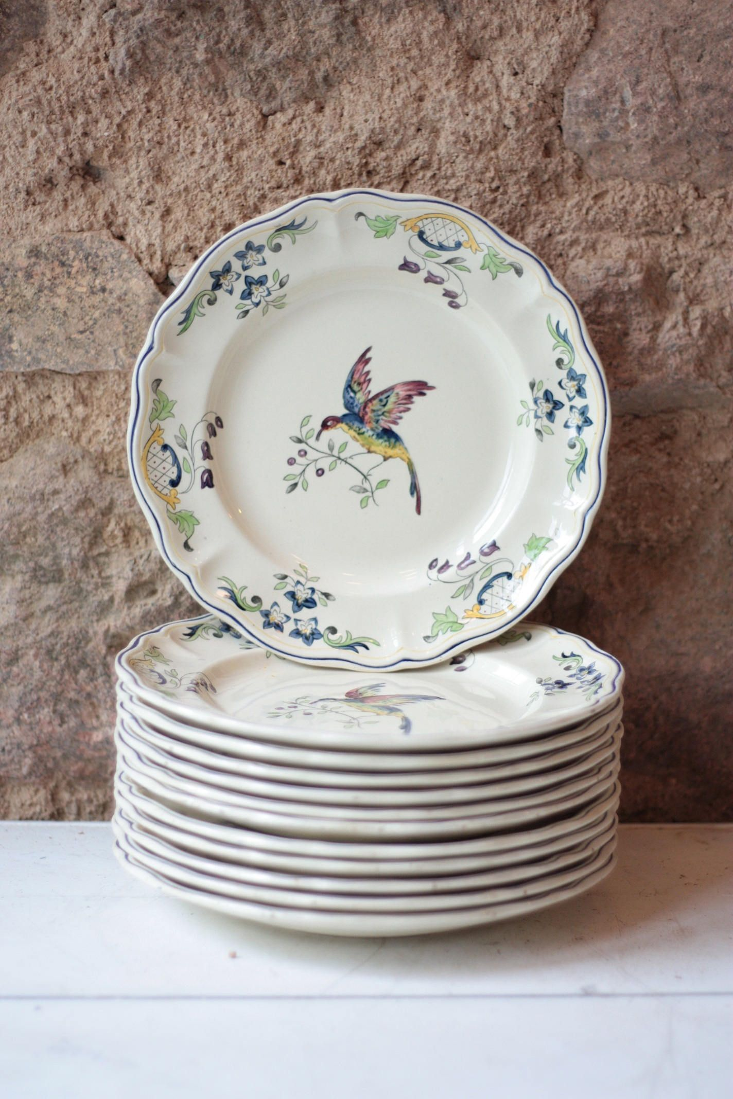 Vintage crockery.Farmhouse decor French vintage plate Hand painted plate Vintage china Rustic decor Vintage floral plate Shabby chic.