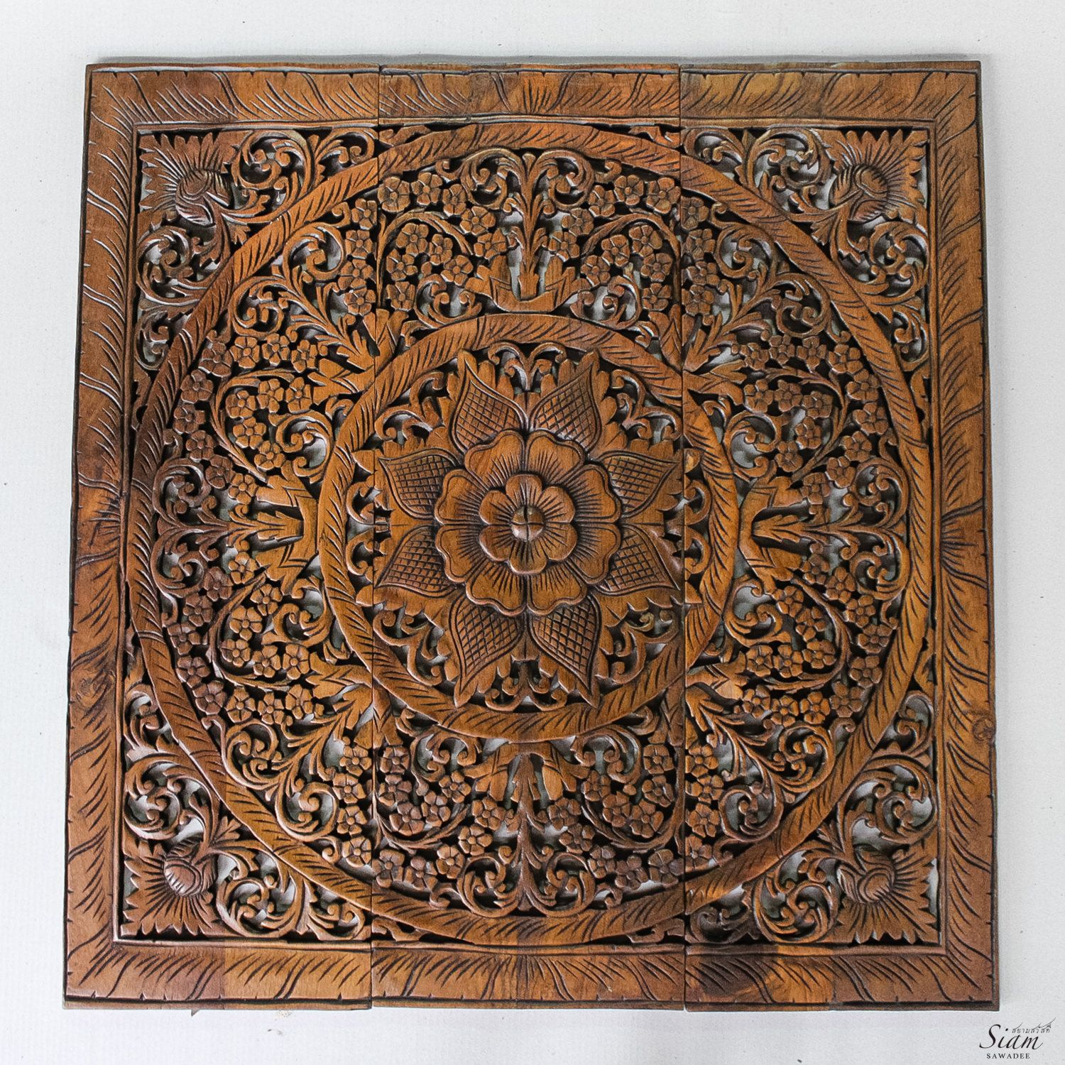 Wall art decor carved wood panel asian home interior