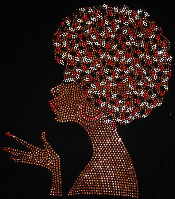 Floral Flower Afro African Queen Diva Pride Rhinestone Hotfix Iron On Transfer