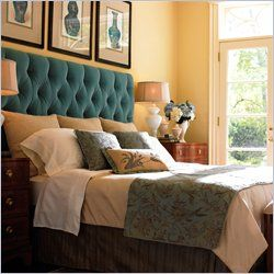 pop of color tufted headboard