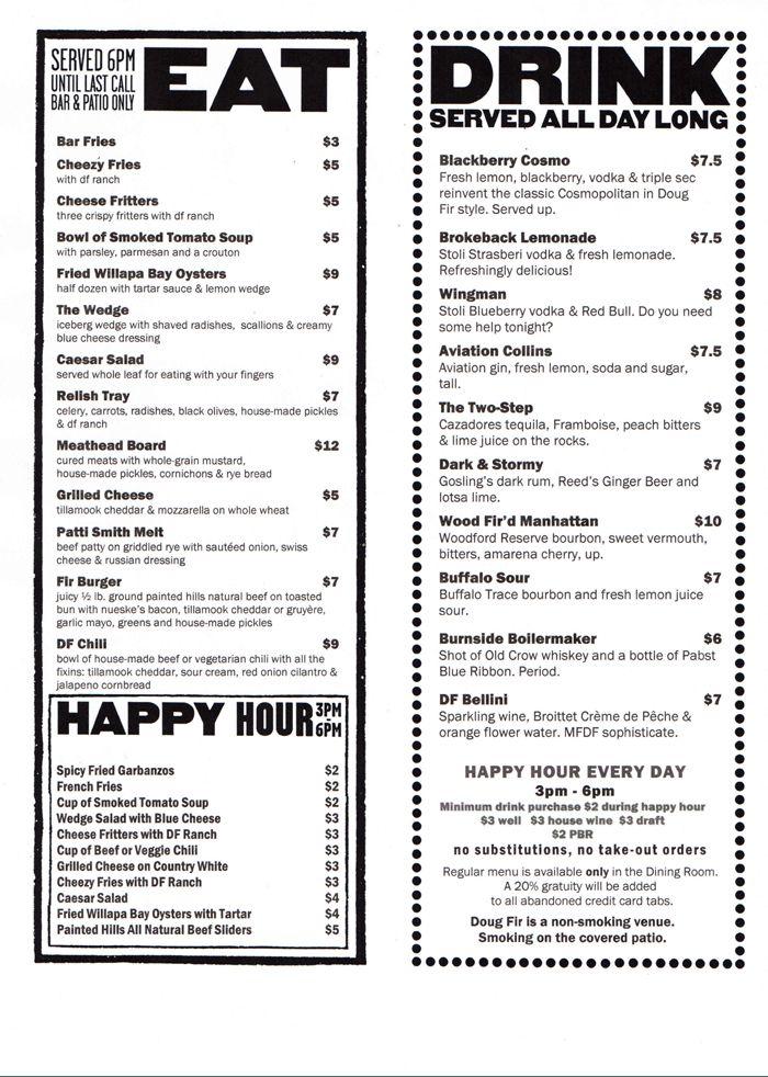 Doug Fir Lounge - Portland. Oregon - good happy hour menu. Great music at night. | Happy hour menu