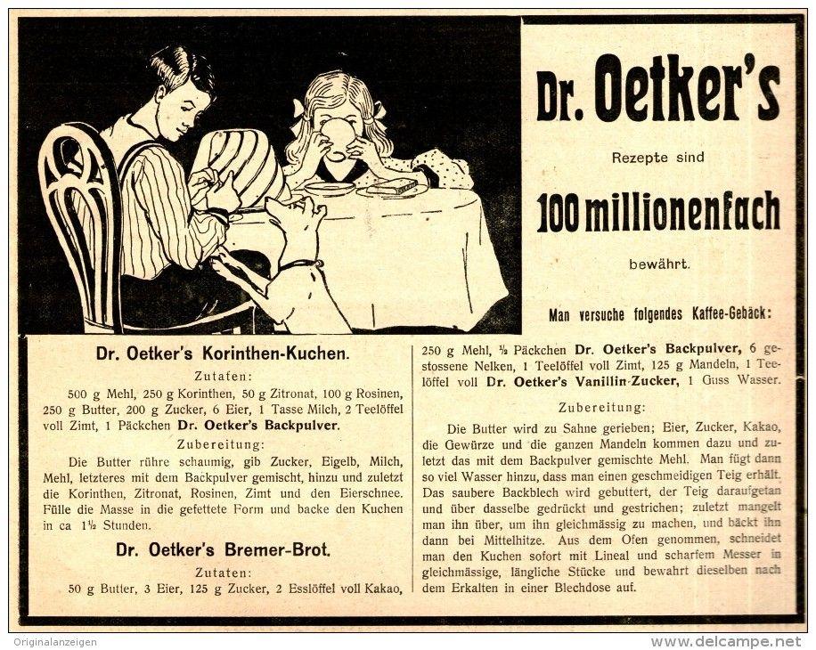 Original-Werbung/ Anzeige 1909 - DR. OETKER - ca. 180 x 140 mm
