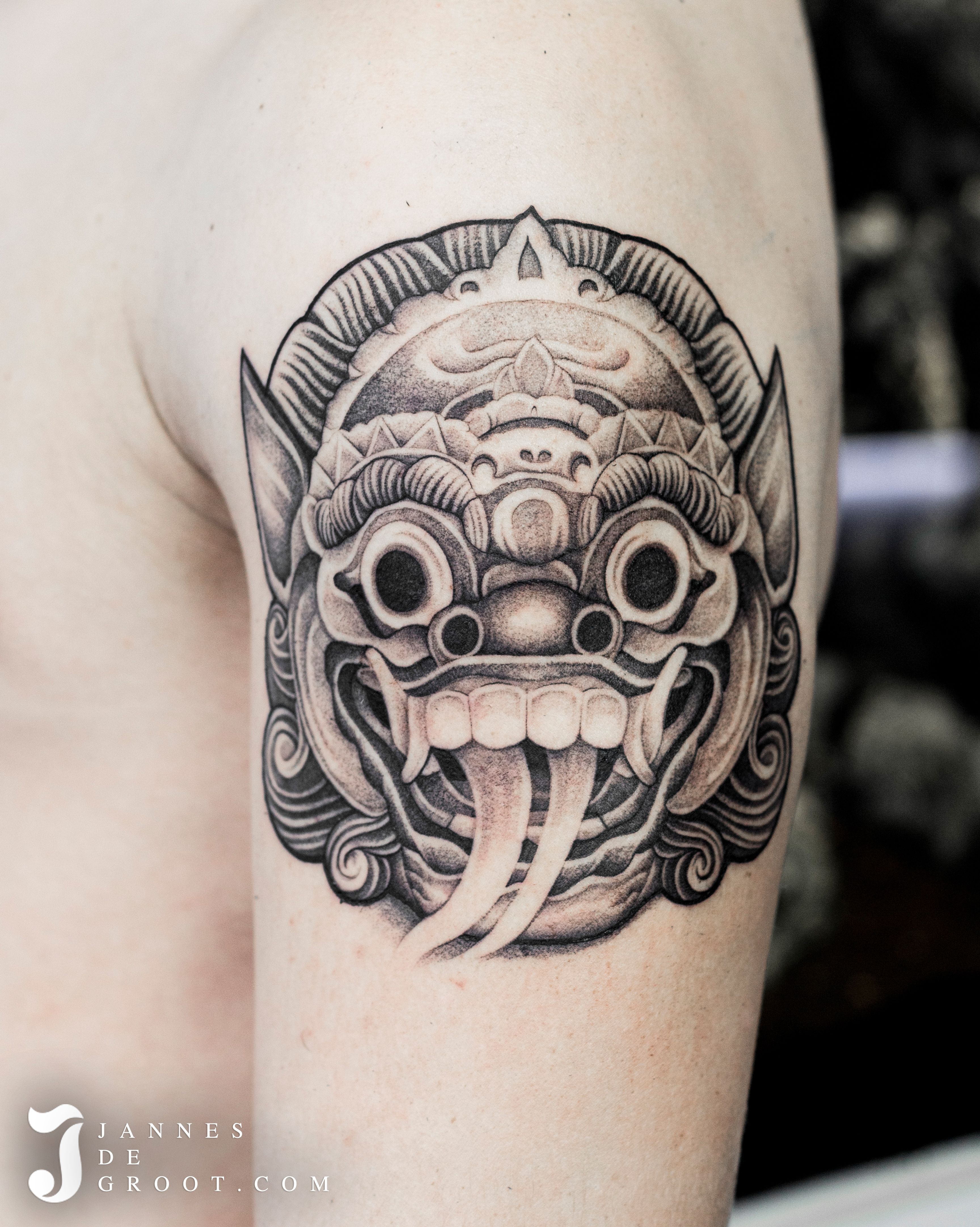 Realistic Black & Grey Tattoo, Indonesian Barong By