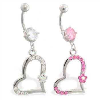 Jeweled belly ring with dangling crooked jeweled heart ...