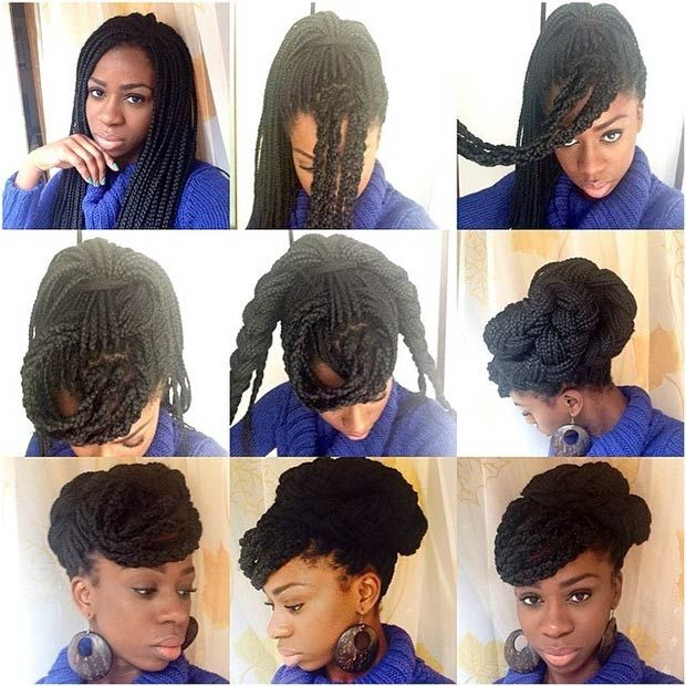 70 Box Braids Hairstyles That Turn Heads Stayglam Box Braids Hairstyles Box Braids Styling Braided Hairstyles Updo
