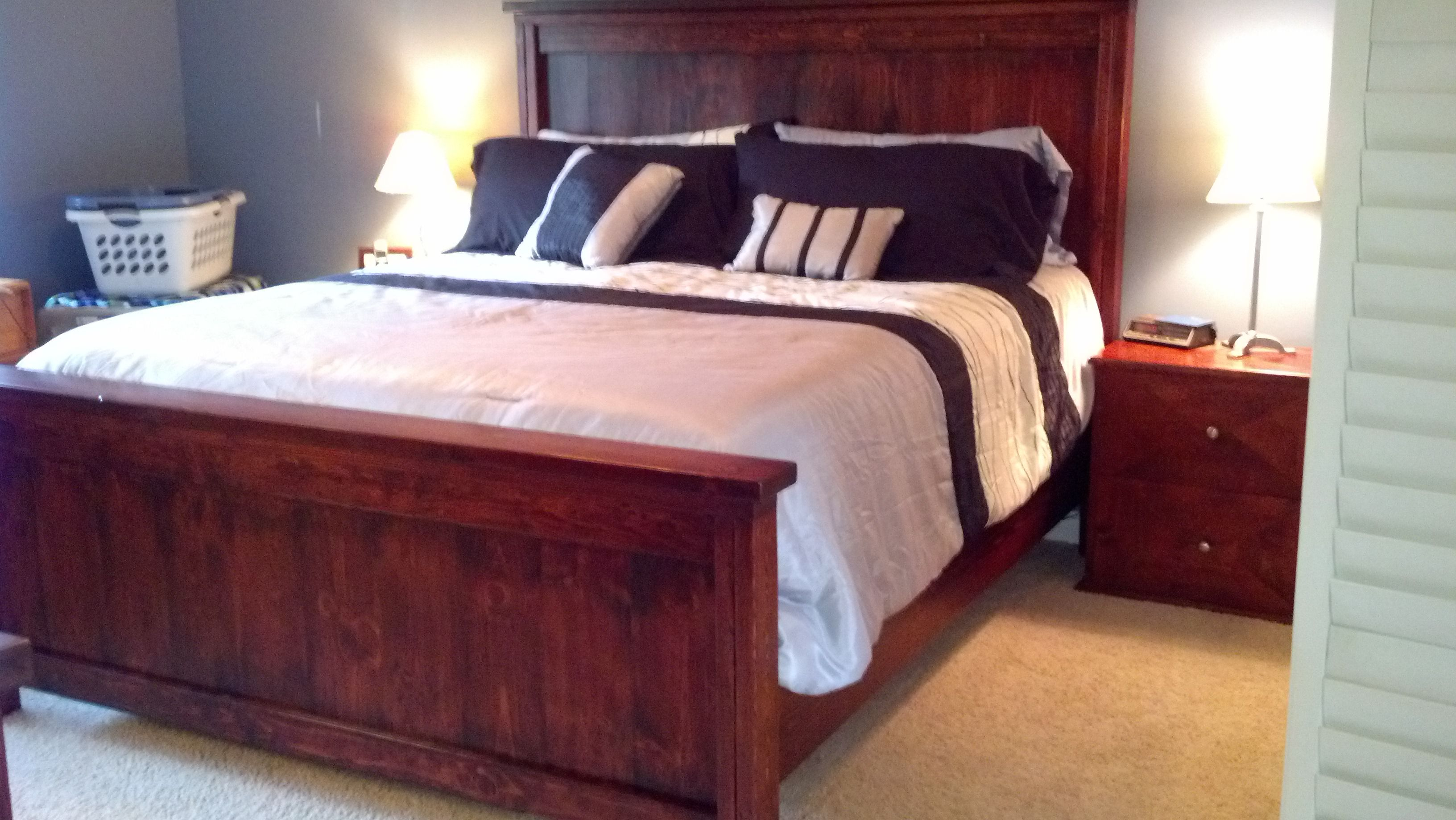 The Ana Farmhouse Cal King bed I built in March 2013