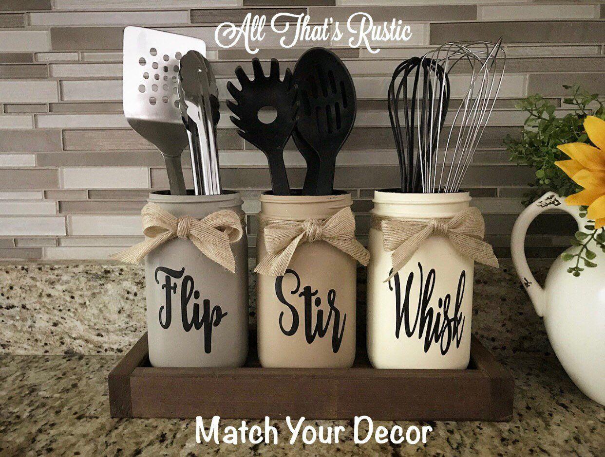 Flip, Stir, Whisk Utensil Holder, Mason Jar Decor, Kitchen Decor