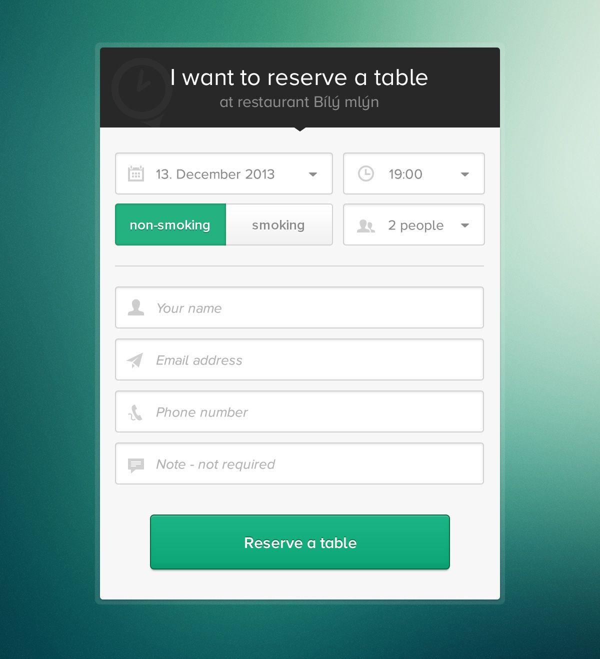 Reservation form by Pavel Huza | UI Experiments | Pinterest | Ui ux ...