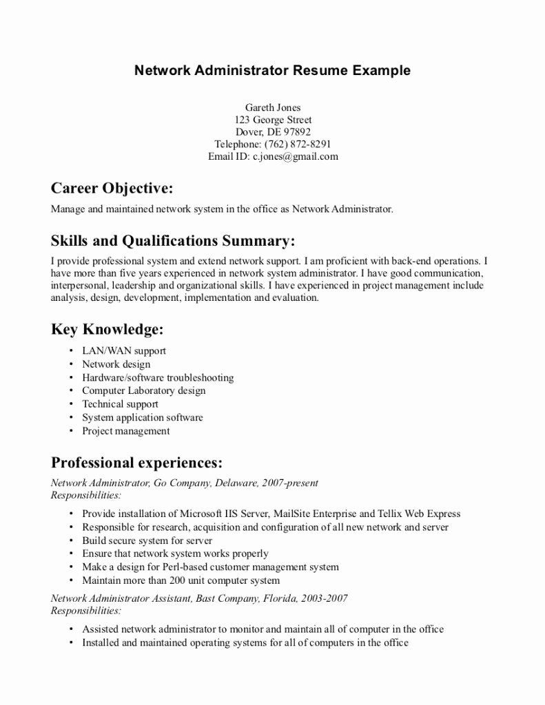 System Administrator Resume Sample Best Of 25 Sample Network Administrator Resume Example Resume Examples Resume Sample Resume