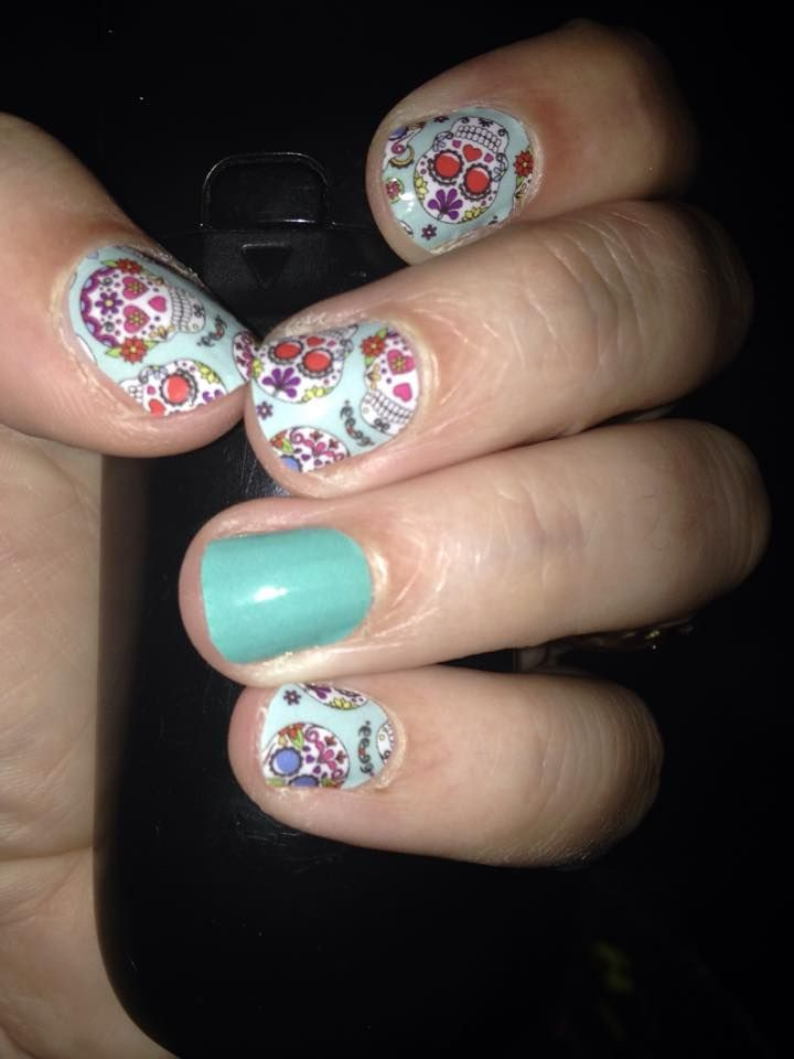 Colorful blue green manicure with Dia De Los Muertos and Athens ...