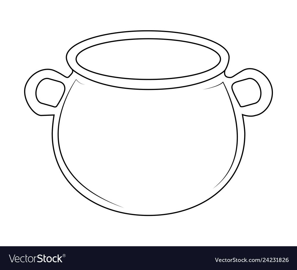 Empty Witch Cauldron Pot Outline Isolated On Vector Image On Vectorstock Witches Cauldron Outline Images Outline