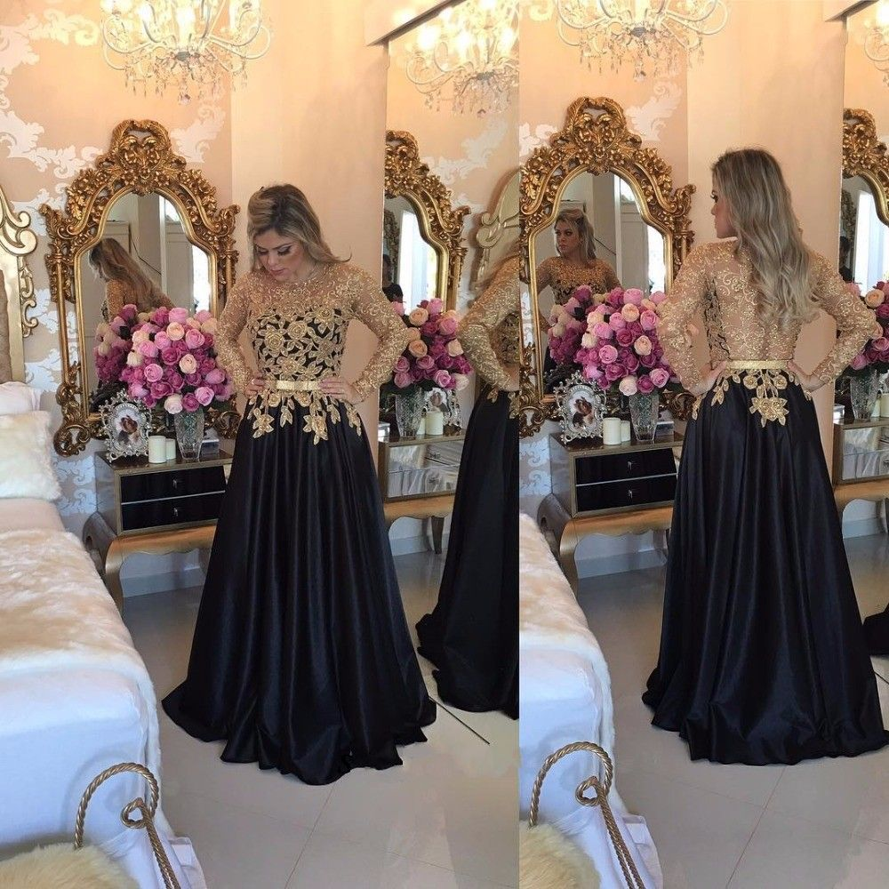 Long Sleeve Black Prom Dresses With Gold Sequins Top 0da05147f730