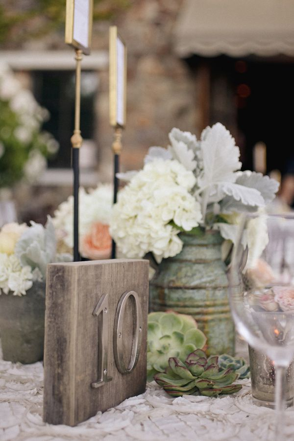 rustic wood + metal table number // photo by Edyta Szyszlo // floral ...