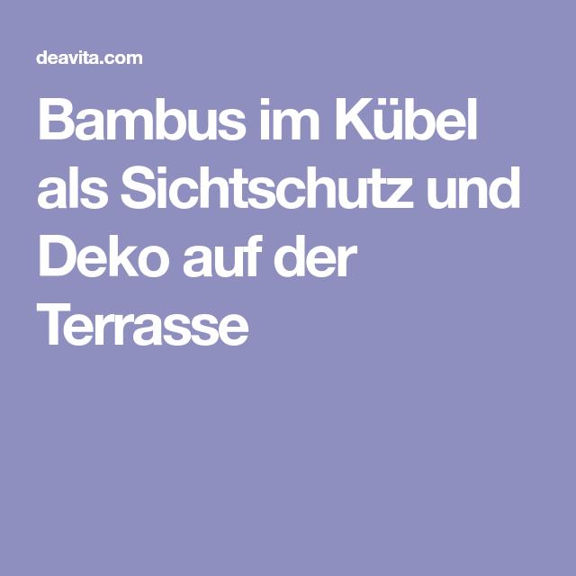 Bambus Im Kübel Als Sichtschutz Und Deko Auf Der Terrasse | Mein Garten |  Pinterest | Kübel, Sichtschutz Und Bambus