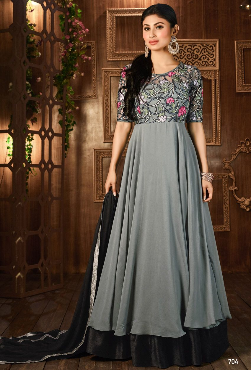 Mouni roy in gray georgette anarkali suit casual suits pinterest