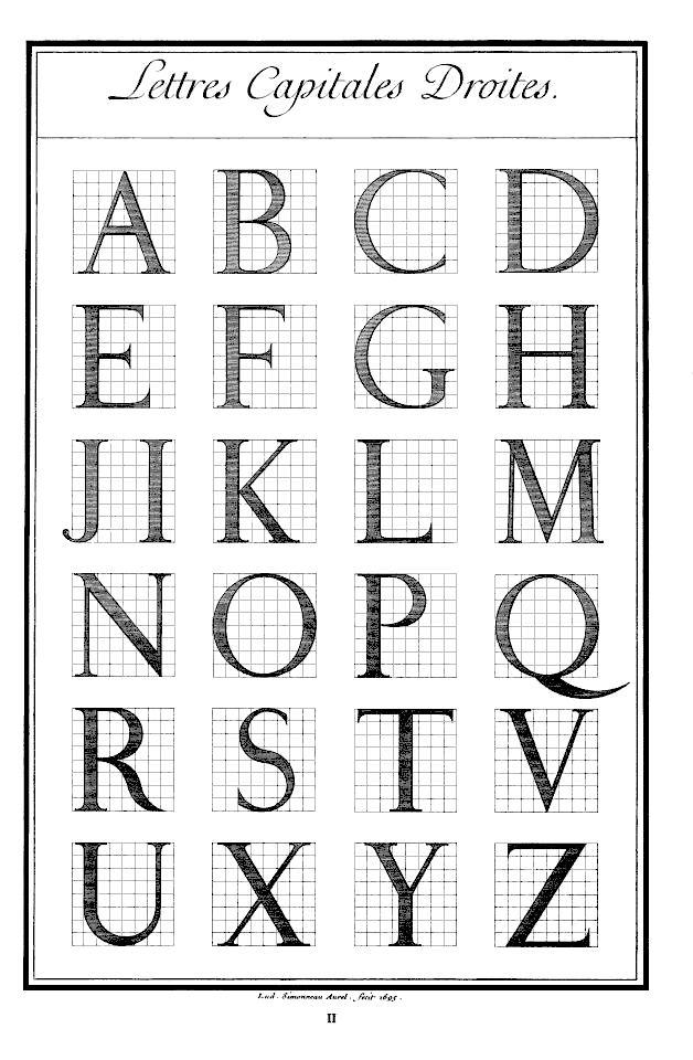Le Romain du roi  Lettres Capitales Deoites | Alphabet