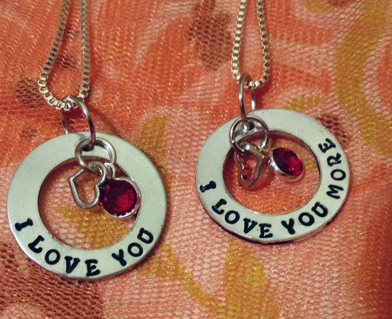 I Love You More mother daughter matching necklace by TiffysLove