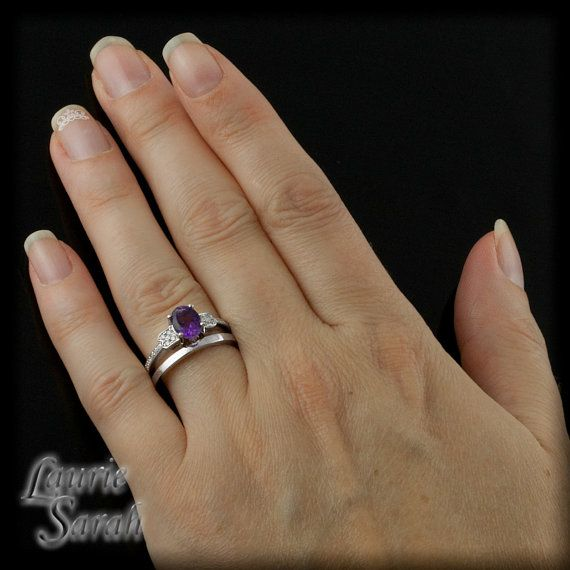 Amethyst and Diamond Wedding Set with Simple by LaurieSarahDesigns, $1569.00