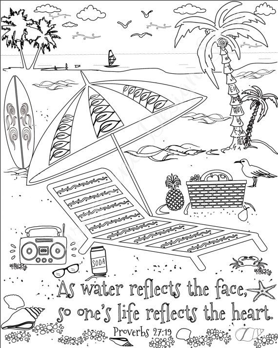 Bible Verse Coloring Pages Beach Prints Scripture Coloring