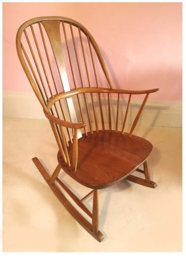 Original 1950s Ercol Chairmakers Rocking Chair By Lucian R
