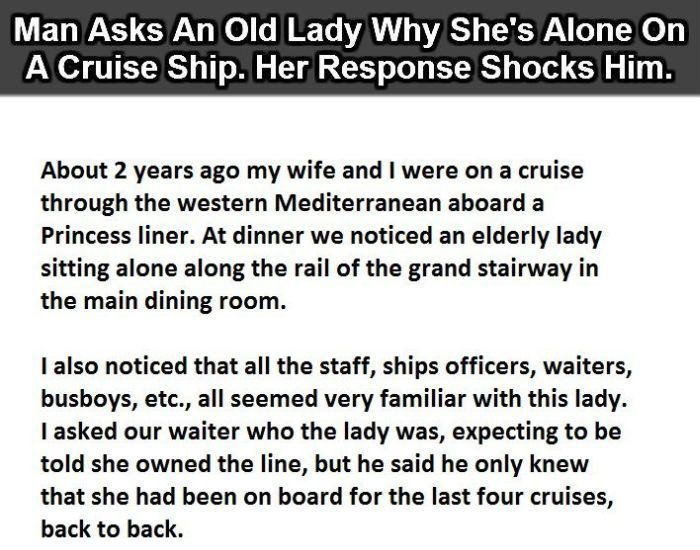 Old+Woman+Has+The+Perfect+Answer+As+To+Why+She's+Alone+On+A+Cruise+