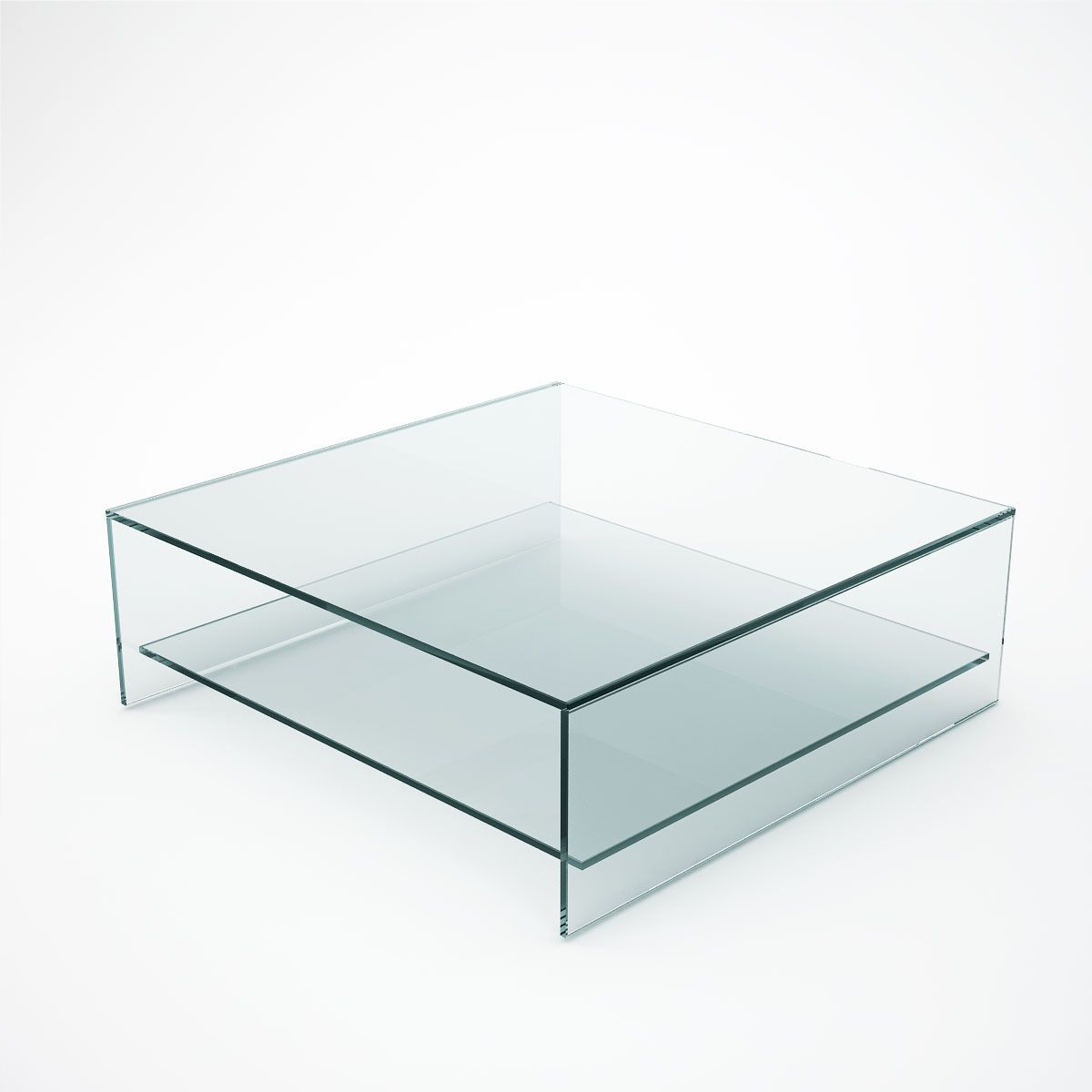 Judd Square Glass Coffee Table With Shelf
