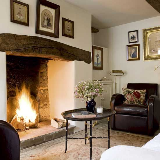 Cozy Rustic Living Room Fireplaces: Neutral Country Living Room
