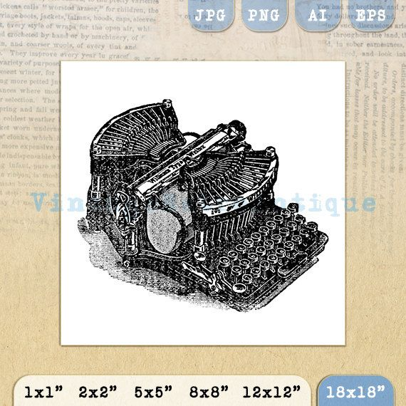 Digital Graphic Old Fashioned Typewriter by VintageRetroAntique