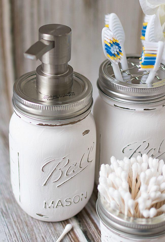 Mason Jar Bathroom Storage Accessories Barn House Pinterest