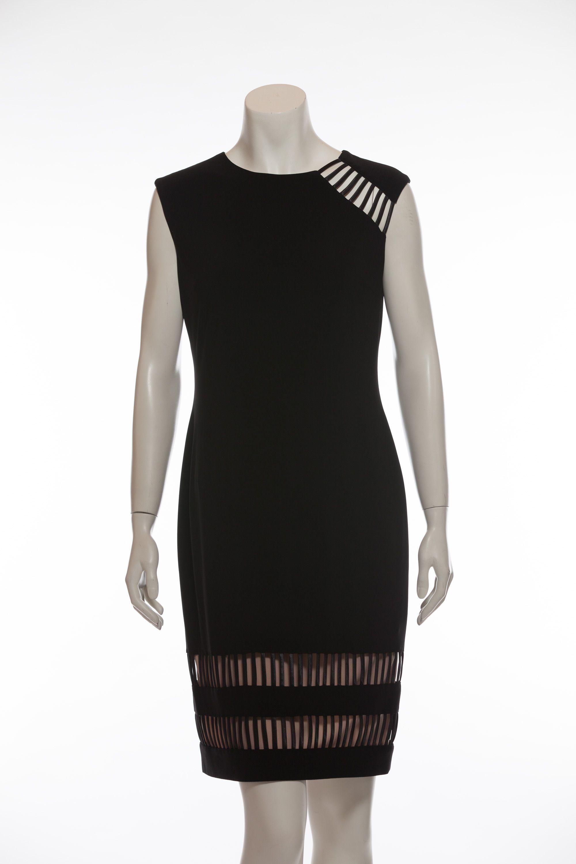 Schwarzes Kleid mit geometrischen Cut Outs Elegantes, ärmelloses ...