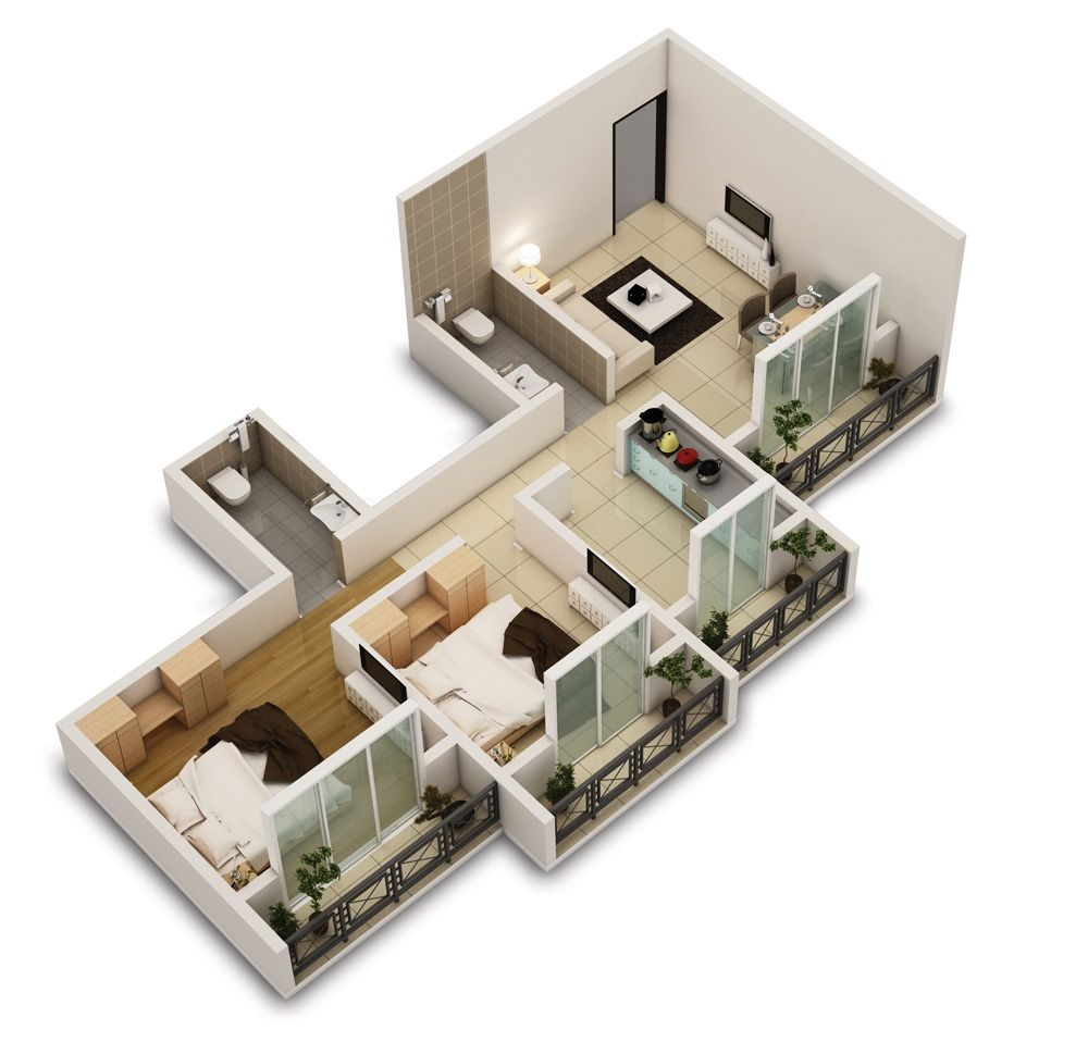 25 Two Bedroom House/Apartment Floor Plans | Two bedroom ...