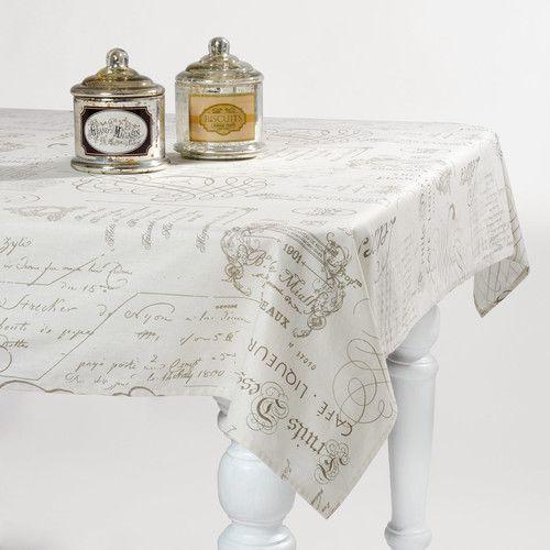 CALIGRAPHIE linen tablecloth in ecru 140 x 250cm