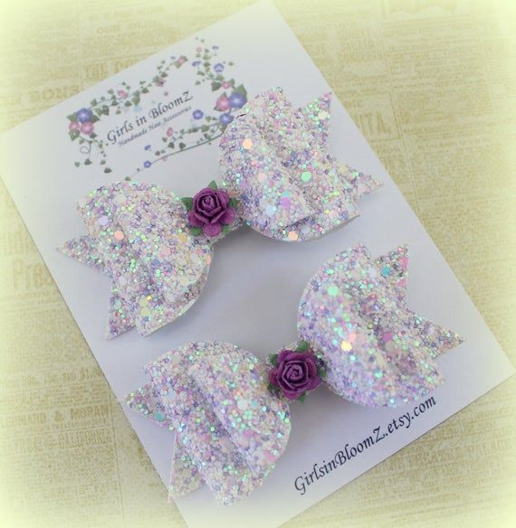 Lilac hair bows/Girls hair bows/Set of 2 hair clip/Sparkly lilac hair bows/Pigtail hair clips/Toddle #hairbows