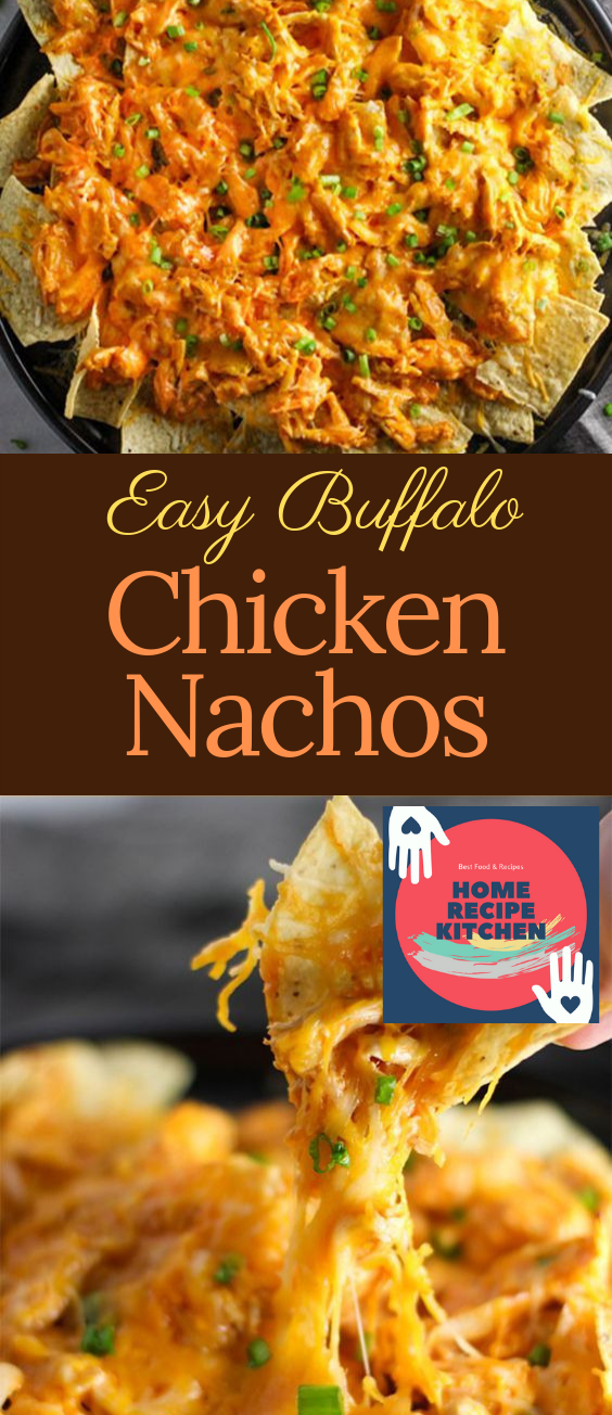 Easy Buffalo Chicken Nachos #buffalochickennachos