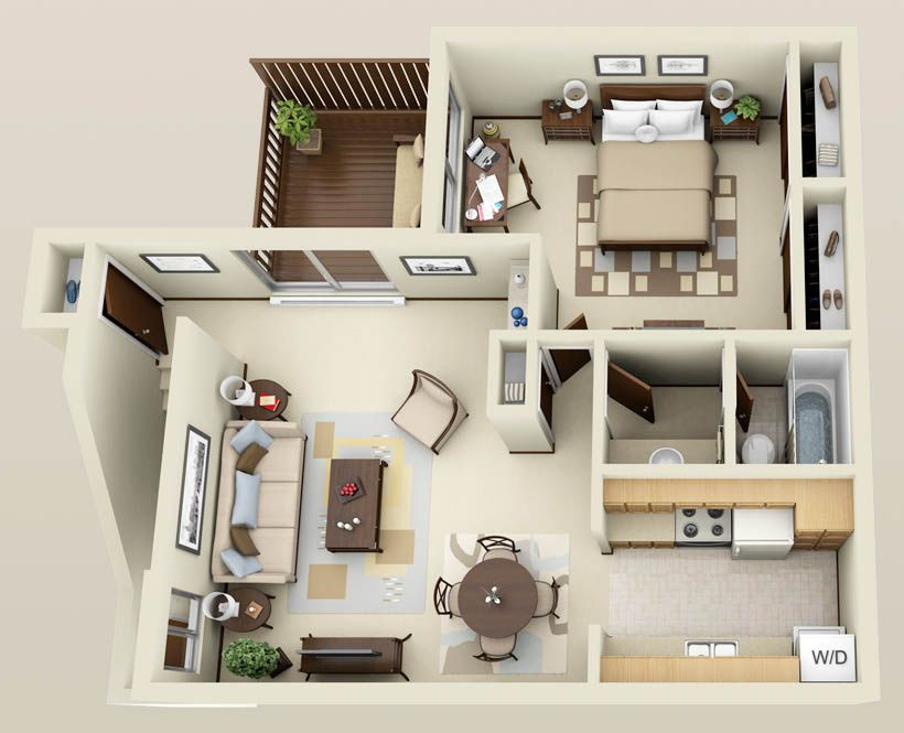 Apartment 3d floor plans google search interior for Single bedroom apartment design