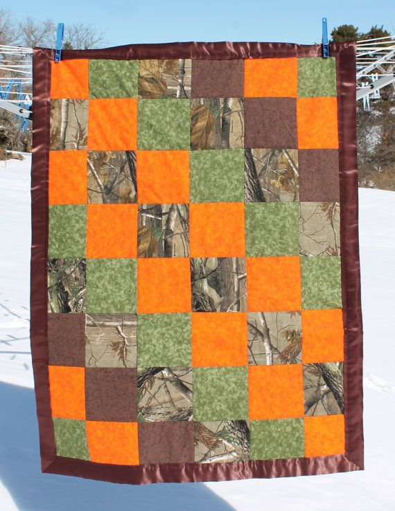 Camo Crib Quilt Realtree And Blaze Orange Perfect For A Nursery With A Camo Theme Quilts Quilt Patterns Crib Quilt