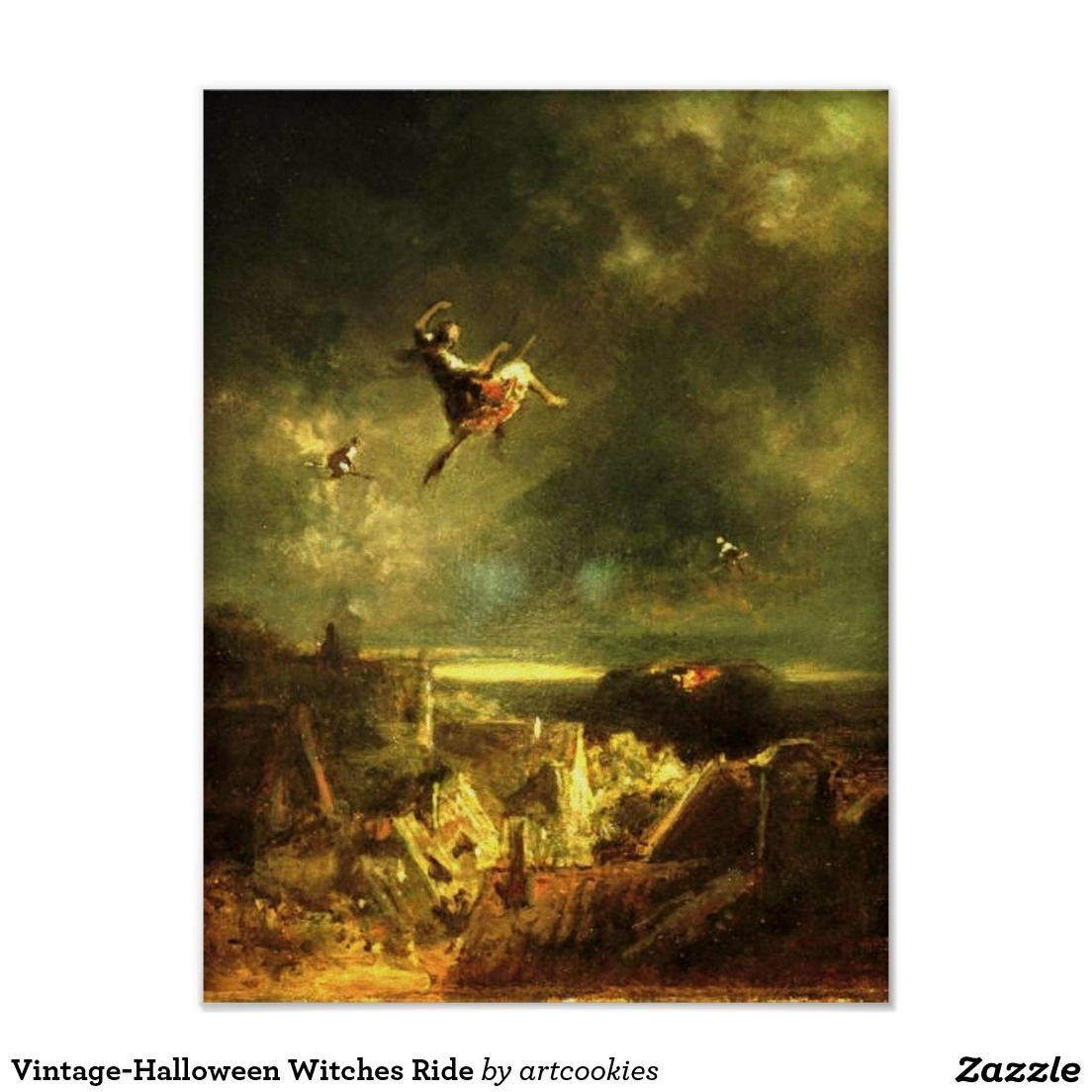 Halloween Witch Ride 2020 Vintage Halloween Witches Ride Poster | Zazzle.in 2020