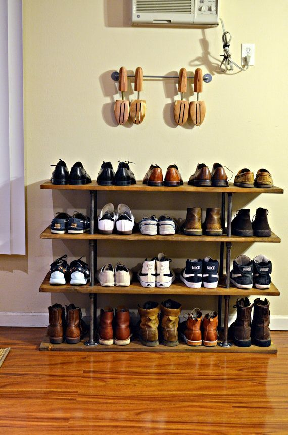 This four tier industrial style shoe rack made