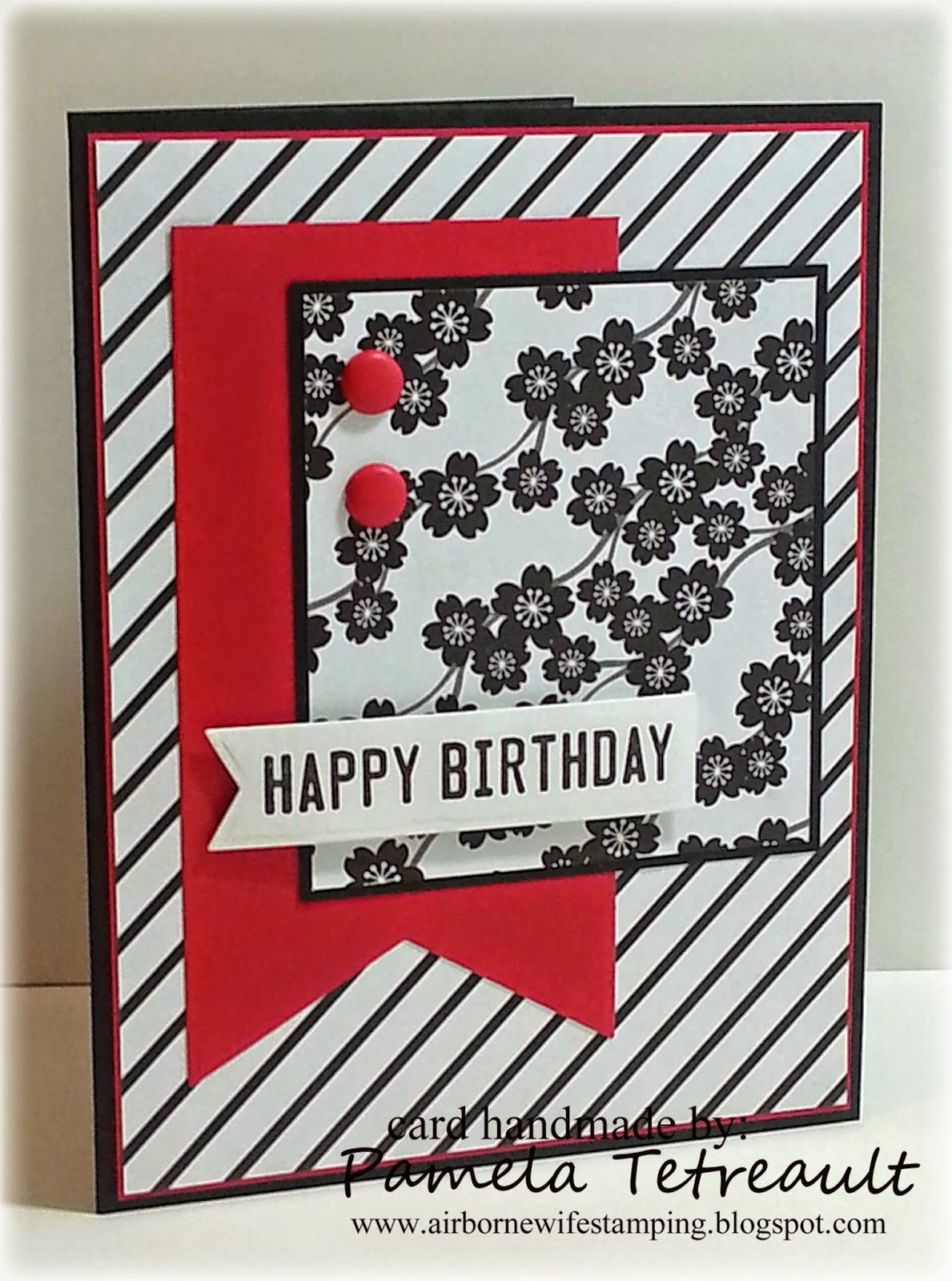 Stampin Up Hand Crafted Happy Birthday Card Black White