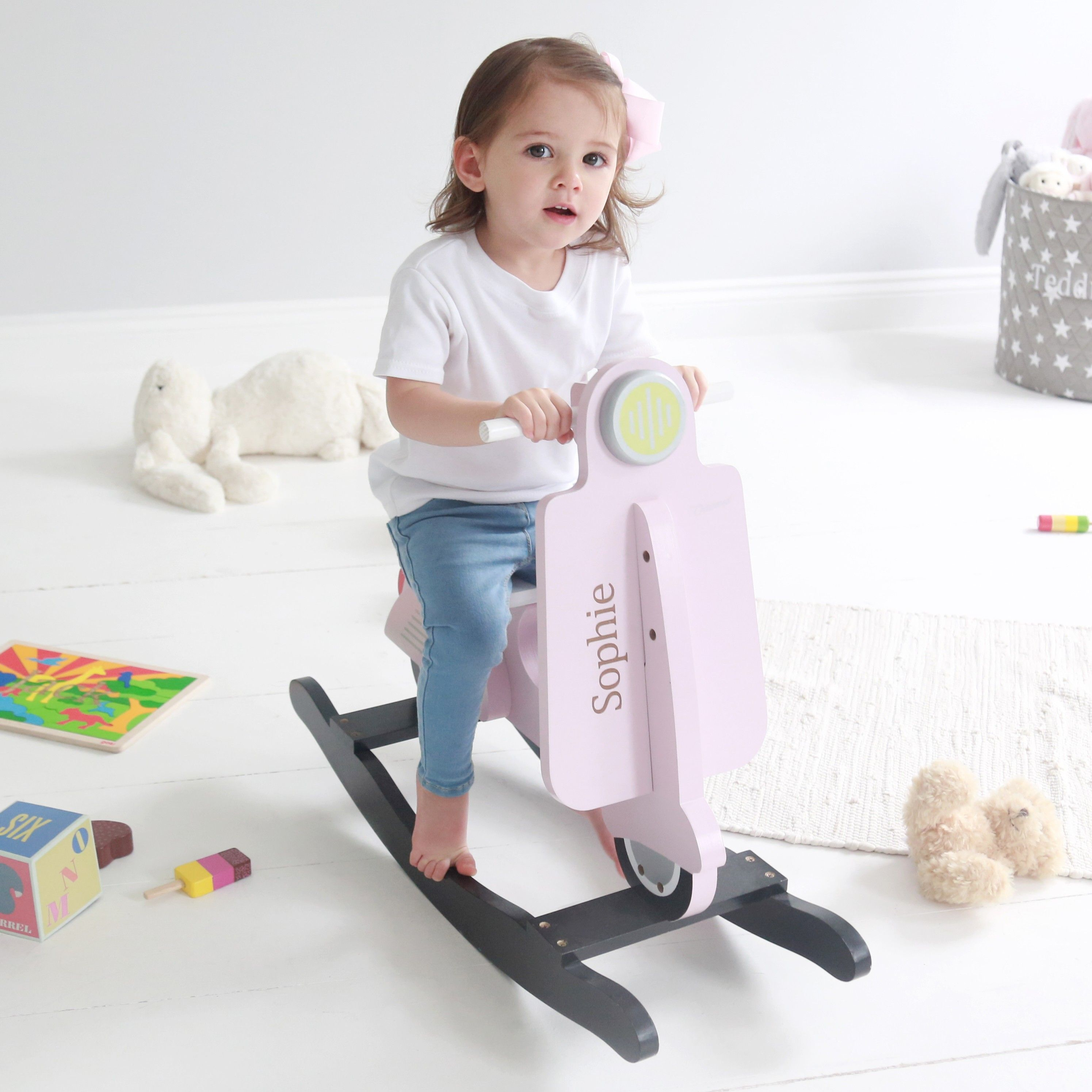 Personalized Rocking Scooter Toy  Pink