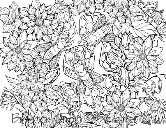 Charmant Busy Bees Coloring Page, Printable Coloring Pages, Adult Coloring Pages,  Hand Drawn Digital