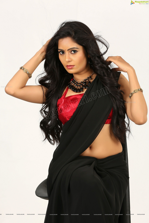 Madhumitha In Black Saree Ragalahari Exclusive Photo Shoot