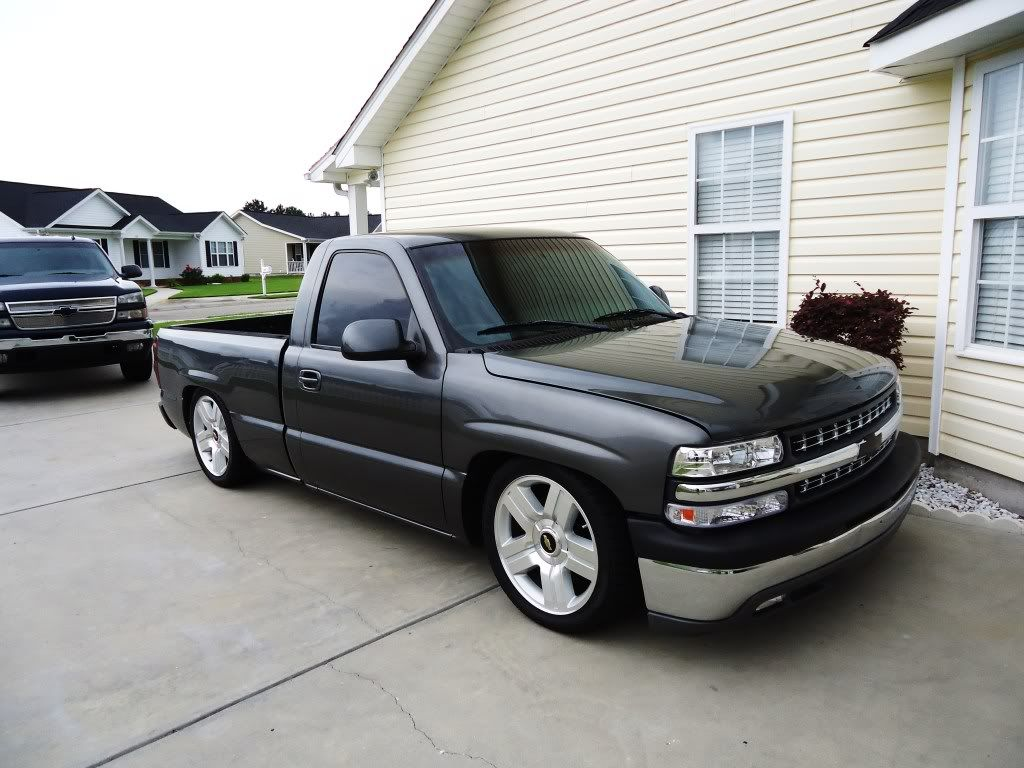 99 Rcsb Storm Grey Silverado Lowered 5 8 Drop On Brand New Ltz 20 Rims And Tires Performancetru Single Cab Trucks Silverado Truck Chevy Silverado Single Cab