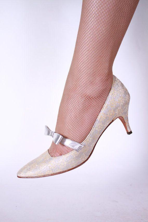 Darling 1960s Silver Brocade Kitten Heel with Silver by