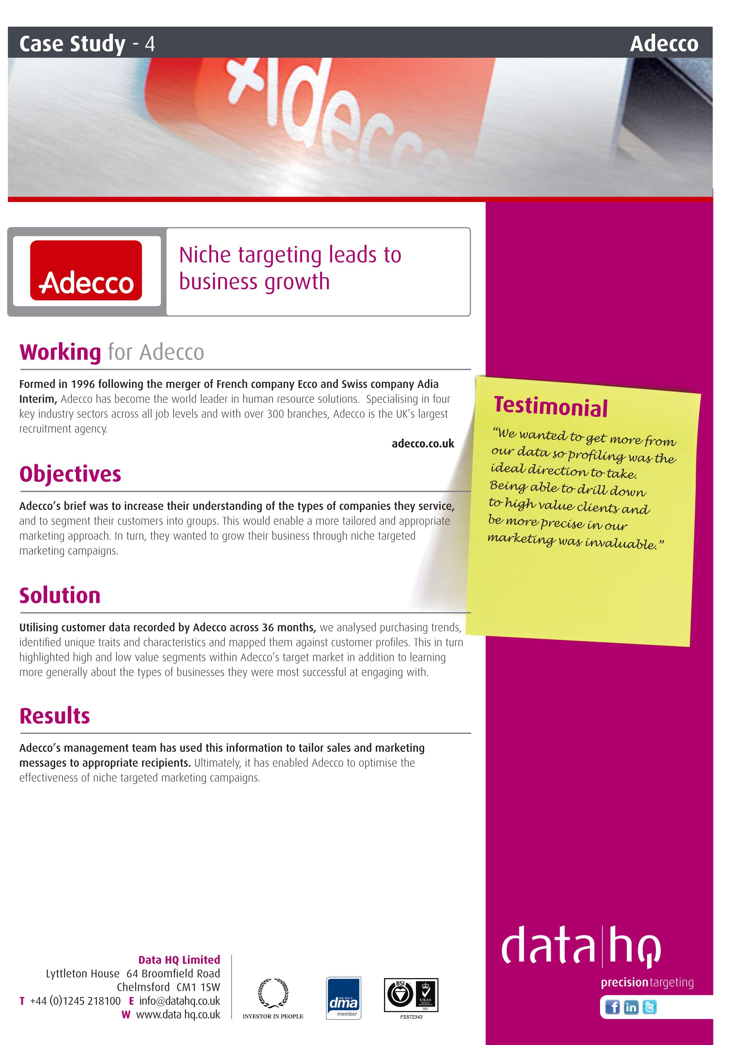 Adecco Case Study Marketing Case Study Anglia Ruskin University Study