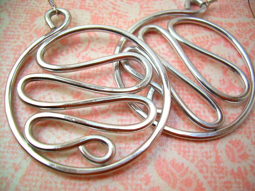 Silver Wire Jewelry Aluminum Wire Jewelry Wire Earrings Silver Wire  Earrings Wire Wrapped Jewelry Handmade Aluminum Jewelry Silver Earrings