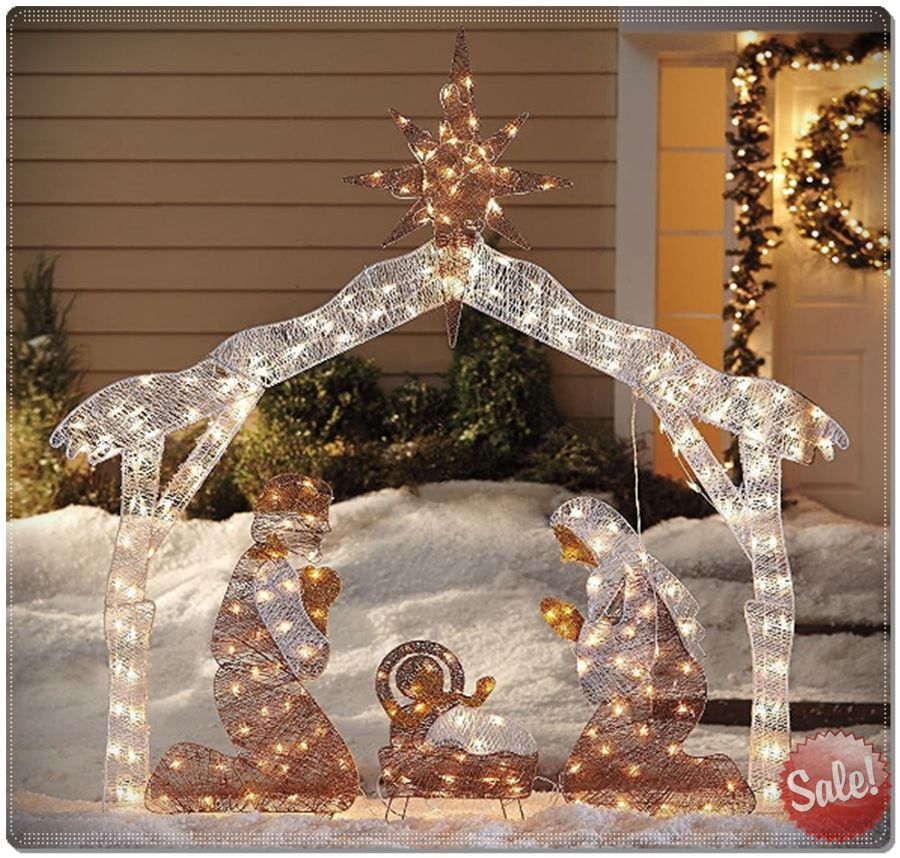 christmas outdoor lighted crystal nativity decoration set yard art decor family ebay - Ebay Christmas Decorations Outdoor